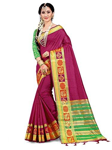 ELINA FASHION Sarees Women Cotton Silk Woven Saree l Indian Wedding Gift Sari Un Stitched ()
