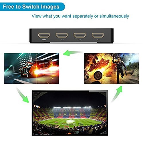 Elecwave HDMI Switch 3 Port HDMI Switch supports 4K PIP 3D SPDIF with IR Remote ARC 3.5MM Audio out