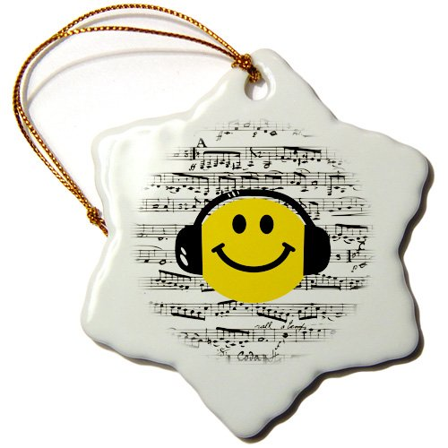 3-Inch 3dRose orn/_112820/_1 Yellow Smiley Face Listening to Music with Headphones Musical Note Sheet Happy Dj Deejay-Snowflake Ornament Porcelain