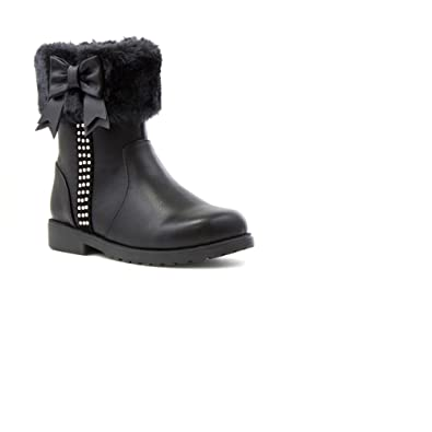 Integriti Schoolwear Kids Childrens Girls Black Fur Zip,UP Ankle Warm  Winter Boots Shoes Sizes 6,2 Girls Calf Boots with Fur Edge , Ages 2 3 4 5  6 7 8