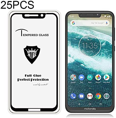 P30 Note GzPuluz Glass Protector Film 25 PCS Full Screen Full Glue Anti-Fingerprint Tempered Glass Film for Motorola One Power Black Color : Black