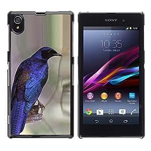 Vibrantes pájaro azul púrpura Plumas Alas- Metal de aluminio y de plástico duro Caja del teléfono - Negro - Sony Xperia Z1 L39