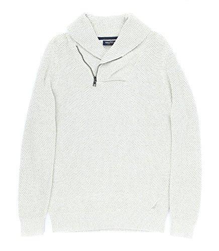 Nautica Men's Textured Shawl Collar Asymmetrical Zipper Sweater [M] [Sand Drift] by Nautica