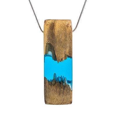 c4686c8b8354de Amazon.com: Wood and Resin Pendant Necklace Handmade Blue Rectangle ...