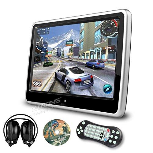 XTRONS 10.1 Inch HD Digital Touch Screen Car Headrest DVD Player Ultra-thin Detachable One IR Headphone Included