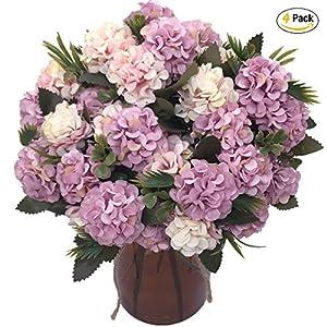CATTREE Artificial Hydrangea Flowers, 4 pcs Silk Fake Flowers Plants Bouquet Bridal Home Garden Office Kitchen Bathroom Table Wedding Decor Valentine's Day Romantic Decorations 115