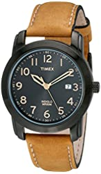 Timex Men's T2P1339J Elevated Classics Stainless Steel Watch with Brown Genuine Leather Strap