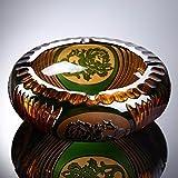 QPGGP-ashtray Handmade carved peony, ashtray, crystal, tea glass, carving technology, living room ashtray.