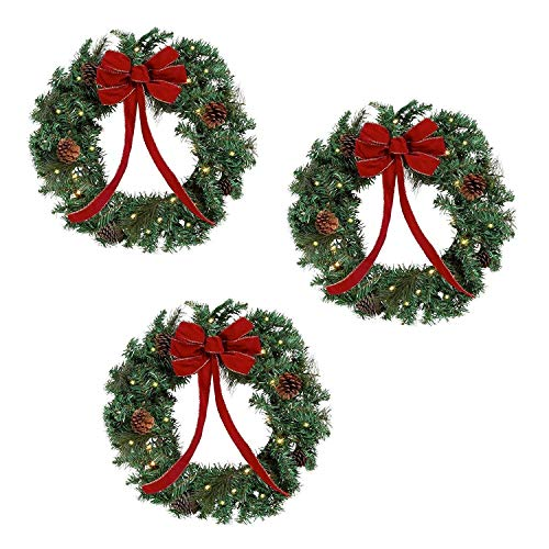 Set of 3 - 22 inch Lighted Christmas Holiday Wreaths red bows and faux greens