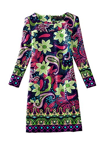 J.cotton Floral Print Long Sleeve A-line Midi Casual Dress (L, (Slip Wrinkle Free Cap)