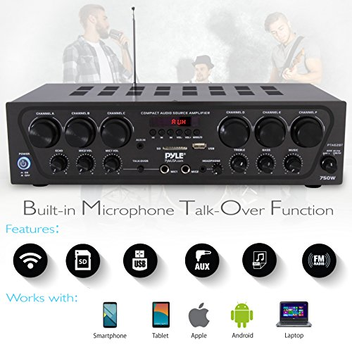 Bluetooth Home Audio Amplifier System - Upgraded 2018 6 Channel 750 Watt Wireless Home Audio Sound Power Stereo Receiver w/ USB, Micro SD, Headphone, 2 Microphone Input w/ Echo, Talkover for PA - Pyle by Pyle (Image #2)