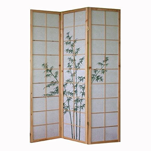 Homestyle4u 3 fach Paravent Raumteiler - Holz Trennwand Shoji in natur mit Bambus - Muster