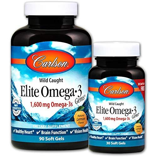 ( Carlson Elite Omega-3 Gems, Norwegian, 1,600 mg Omega-3s, 90 + 30 Soft)