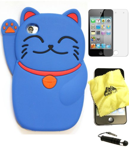 Bukit Cell ® BLUE 3D CUTE LUCKY CAT Soft Silicone Skin Case Cover for iPod Touch 4 4G 4th Generation + BUKIT CELL Trademark Lint Cleaning Cloth + Screen Protector + METALLIC Touch Screen STYLUS PEN with Anti Dust Plug [bundle - 4 items: case, cloth, stylus pen and screen protector] - Ipod Touch 4 Animal Cases