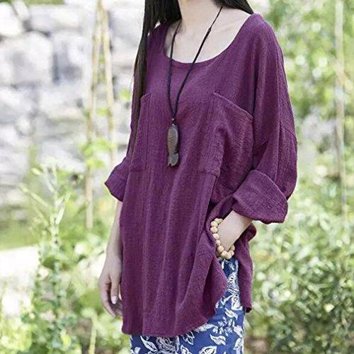 ... juqilu Mode Frauen Damen Sommer Herbst Freien Baumwolle Solide Langarm-Shirt  Beiläufige Lose Bluse Leinen ... ef3eb64d95
