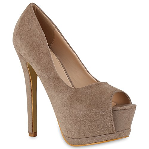 Damen Pumps Spitze Strass High Heels Stiletto Schuhe Peeptoes Flandell Khaki