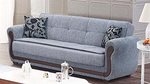 Empire Furniture USA Surf Avenue Collection Tufted Large Folding Sofa Sleeper Bed with Storage Space and Includes 2 Pillows, Gray