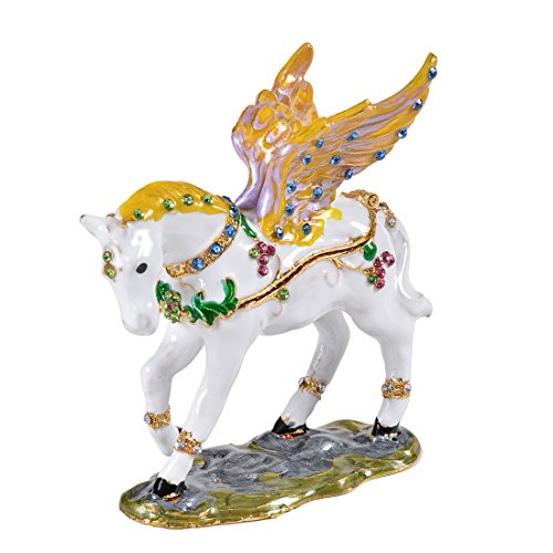 MICG Hinged Trinket Box Bejeweled Hand-painted Ring Holder Animal Figurine Collectible (Flying Horse)