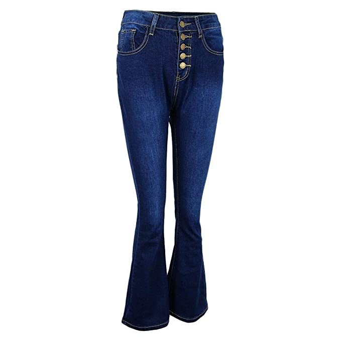 BOLAWOO Pantalones Acampanados Mujer De Talle Alto Slim ...
