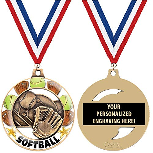Crown Awards Softball Medals for Kids, 2