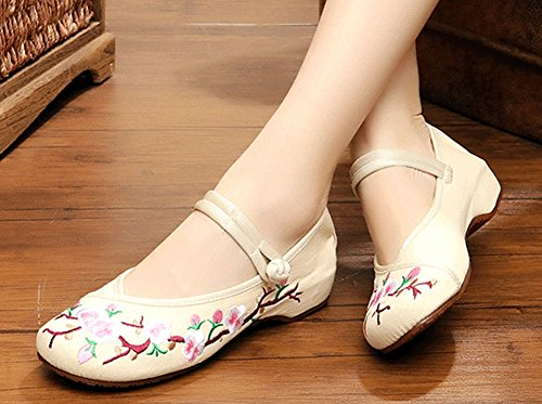 Sole Rubber AvaCostume Flats Casual Classics Beige Shoes Embroidery Womens ZTTqaHX