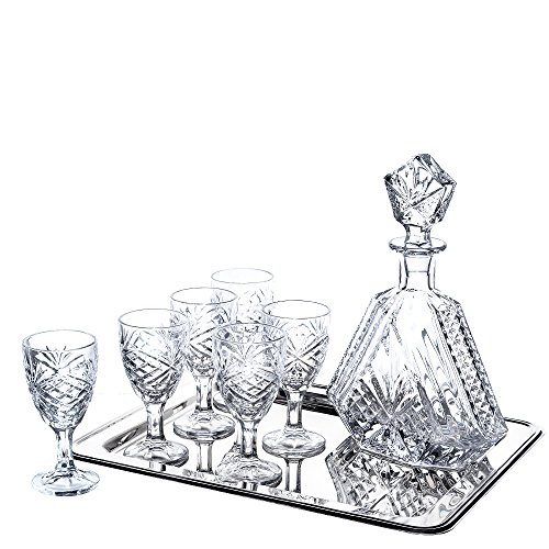 Klikel 8-piece Dublin Whiskey Liquor Drinkware Barware Drink Set With 6 Crystal Cordial Shot Glasses, Triangular Decanter, And Silver-plated Rectangular Tray