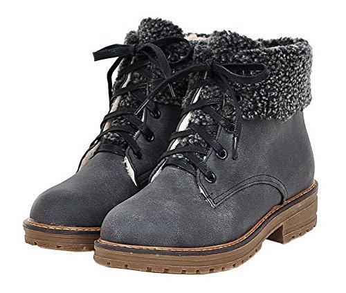 Femme Ageemi Haut Lacet Cuir Couleur Shoes Demi Unie Pu 4TxqgBwn4