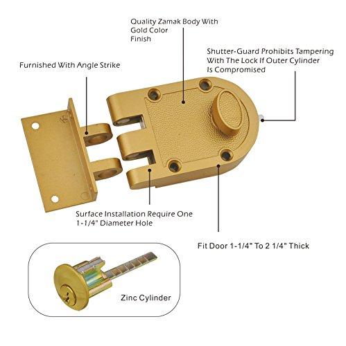 Sumbin Jimmy Proof Deadbolt Single Cylinder Rim Door Locks