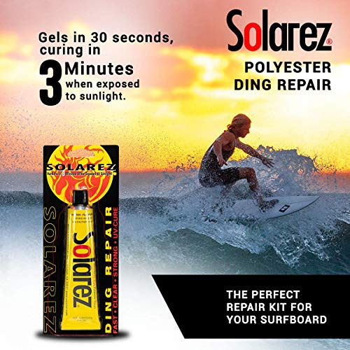 SOLAREZ UV Cure Polyester Ding Repair Resin - Surfboard Repair Kit (1 Oz)  Sun Cures 100% Dry in Under 3 Minutes! Includes 60/240 Grit Sand Pad  Made