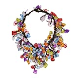 AeraVida Cluster Dangle Multicolor Colored Glass Cotton Wax Rope Bracelet
