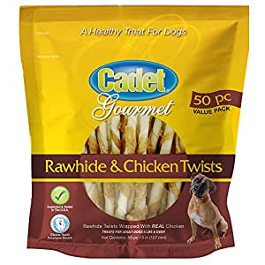 Amazon.com : Cadet Chicken and Rawhide Dog Chew Treats, 50