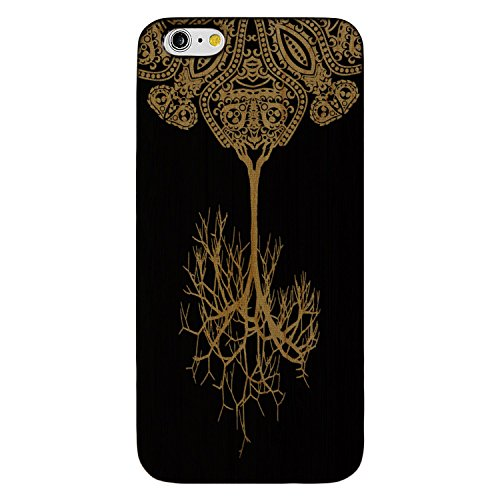 - JewelryVolt Wooden Phone Case for iPhone 6 or iPhone 6s Black Wood Laser Engraved Spiritual Floral Fall Paisley Tree Fractal
