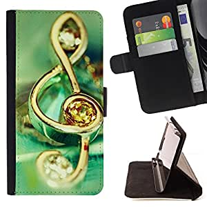 For Motorola Moto E (1st Gen, 2014) Music symbol jewelry Style PU Leather Case Wallet Flip Stand Flap Closure Cover