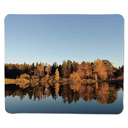 SCOCICI Mouse pad - Gaming Mouse pad - Photo of Autumn Forest and Silhouette of The Trees Over The Lake Peace Nature Ar Professional Control Gaming Mouse Pad Locking Edge Game Mat 11.8x9.8x0.1 inch ()