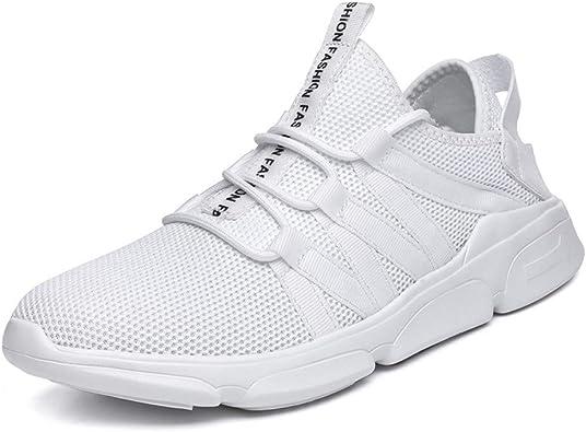 Zapatillas Running Hombre Deportivo Sneakers Correr Calzado Cordones Malla Fitness Zapatos Respirable Blanco 39: Amazon.es: Zapatos y complementos
