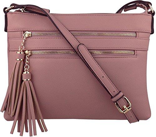 B BRENTANO Vegan Multi-Zipper Crossbody Handbag Purse with Tassel Accents (Plum(N))