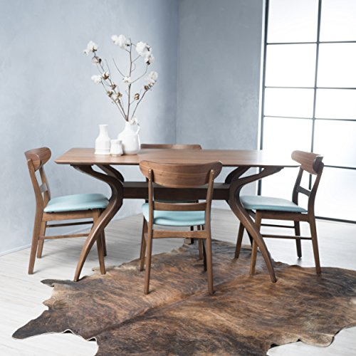 Isador Mid-Century Design Natural Walnut Finish 5 Piece Dining Set (Mint)