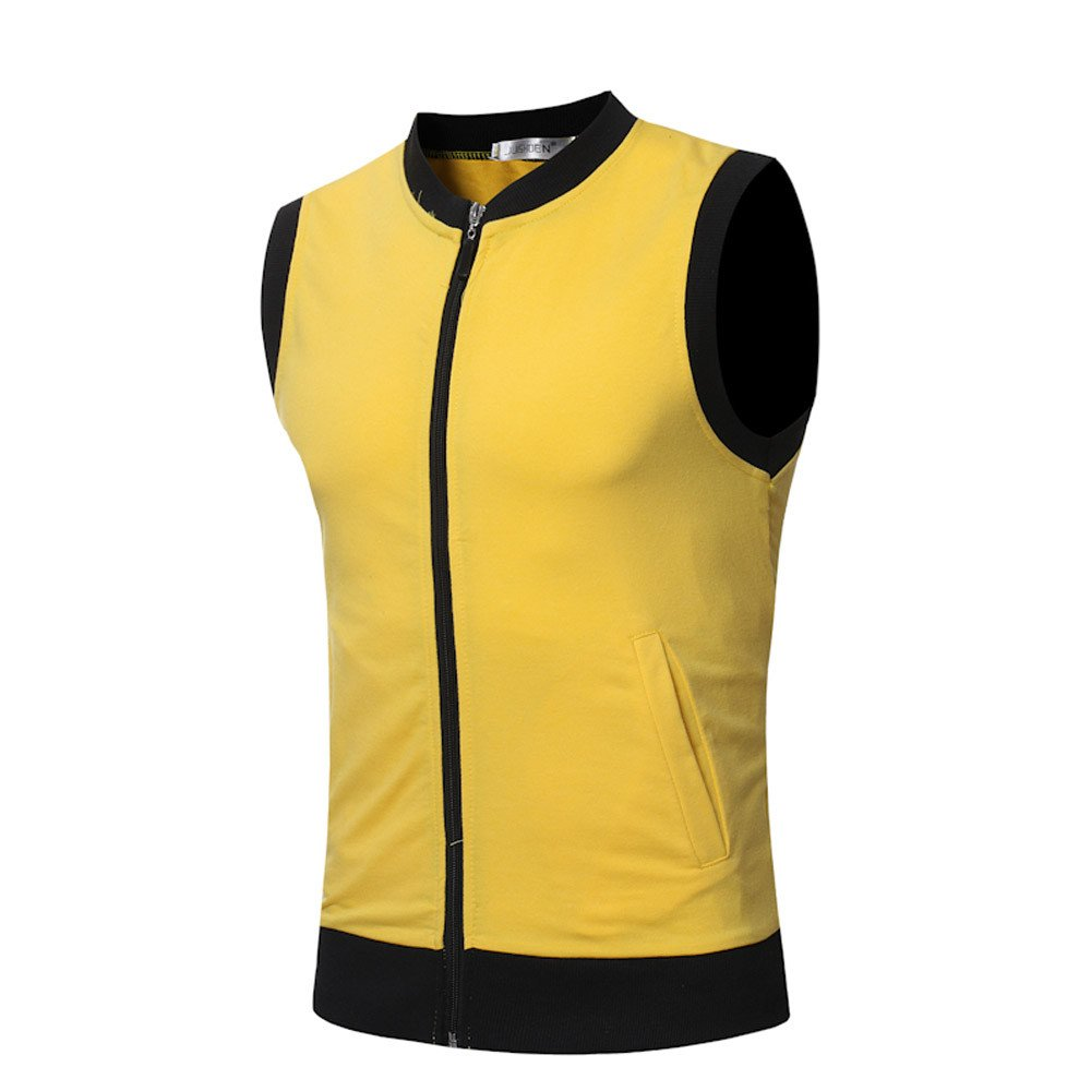 ANJUNIE Mens Slim Fit Crew Neck Sleeveless T-Shirt with Multicoloured Sports Fashionable Vest