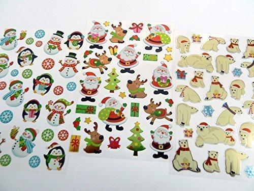 Hombre de nieve, Pingüino, Santa Navidad Pegatinas Variedad de Infantil, infantil Navidad Etiquetas para Manualidades y Festivo Decoración Minilabel