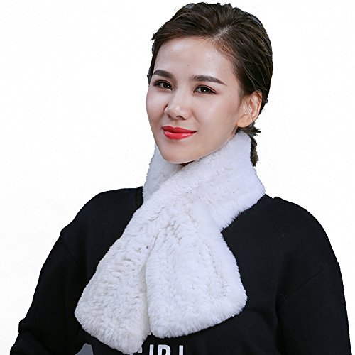 MINGXINTECH womens rabbit fur scarf smooth touch front cross design shawl