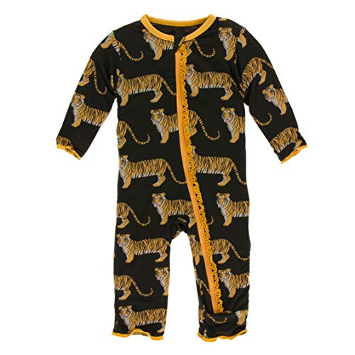 KicKee Pants Print Muffin Ruffle Coverall with Zipper in Zebra Tiger, 6-9 -