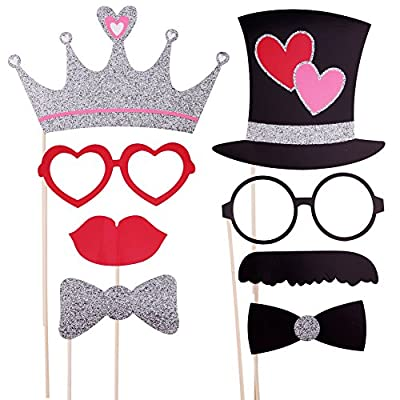 Valentine's Day Party Photo Booth Props Kit for Wedding Birthday Anniversary Party Set Of 27