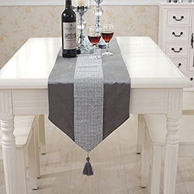 "Hangnuo Wedding Elegant Tassel Sequined Rhinestone Contracted Classic Table Runner 1370inch Silver Grey - Elegant table runner is made of high quality silky texture floss with delicate sequined rhinestone Measuring 70"" * 13"" (179*33CM) with extra 5"" long tassels on each side, the table runners fit most dining table adding a touch of elegance to the table Glitter and shiny table runners are great gift or decoration for wedding, Thanksgiving, Christmas, holidays party and other special occasions - table-runners, kitchen-dining-room-table-linens, kitchen-dining-room - 51%2BWl7BPs5L. SS400  -"