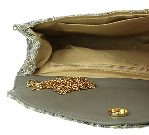 Flowers Bag Grey Sequins HandBags Girly HandBags Clutch Flowers Sequins Bag Clutch Grey Girly UwxSnH1q