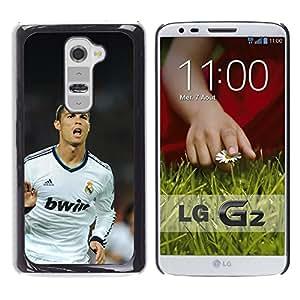 CASECO - LG G2 - Soccer Ronaldo - Delgado Negro Plástico caso cubierta Shell Armor Funda Case Cover - Fútbol Ronaldo