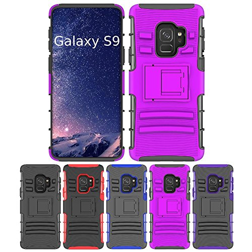 Galaxy S9 Stand Case, HLCT Rugged Shock Proof Dual-Layer PC