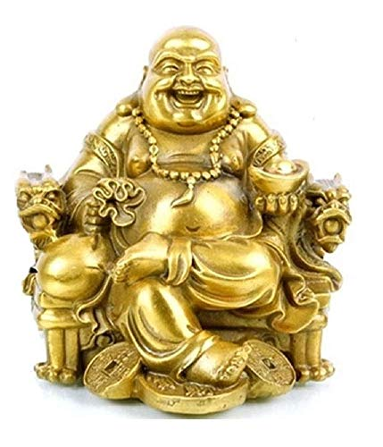 Charm Fengshui Buddha Statue for Lucky Happiness God of Wealth,Laughing Buddha on Emperor s Dragon Chair,Brass Buddhist Statues and Sculptures Home Decor Congratulatory Gifts XXX-Large