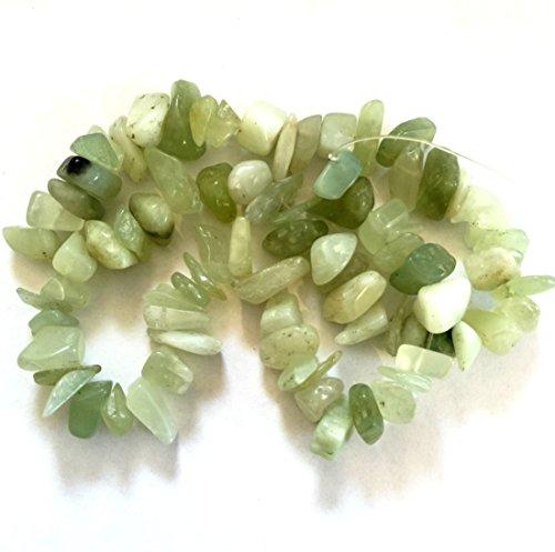 Natural Sea Green New Jade Serpentine Large to Medium Chip, Full Strand (Light Green Jade Bead)