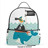 Casual Fashion Backpack Ahoy Whale with a Pirate Hat Bird Binoculars Zig Zag Waves Flag Modern Decor Print Decorative,Mini Daypack for Women & Girls