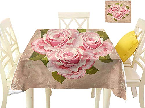 (Davishouse Decorative Textured Fabric Tablecloth Pink Bouquet of Flowers Waterproof/Oil-Proof/Spill-Proof Tabletop Protector W54 x L54)